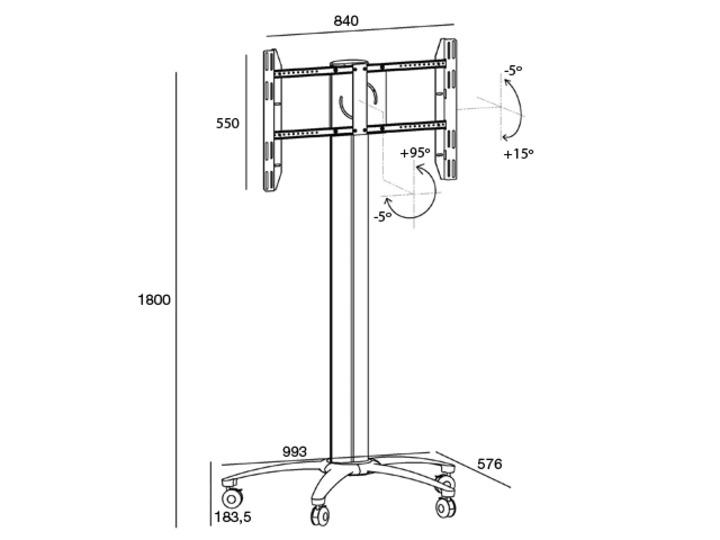 m display stand 180 flight case single w. floor base