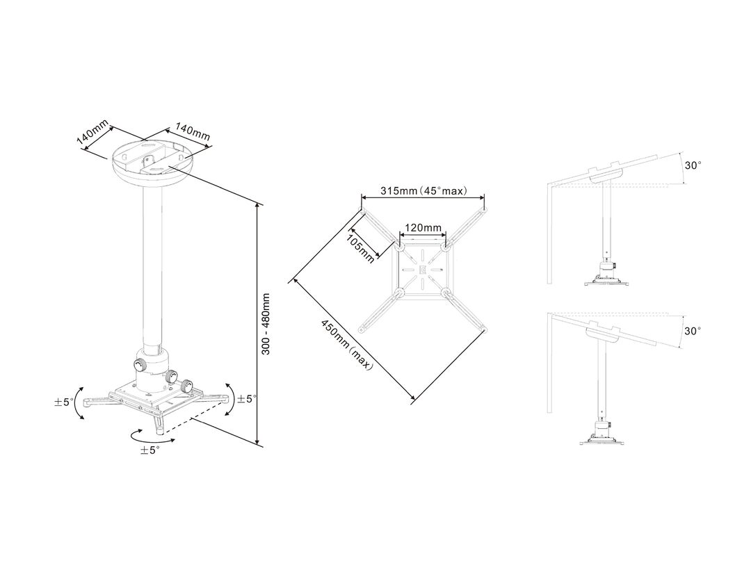 60-120 cm 360 High Profile Adjustable Video Projector Wall Mount ...